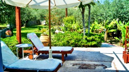 Lindos Villa - umbrella, sun beds, chairs and table